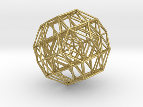 Rectified 24-cell, ortho proj, F4 Petrie,small in Natural Brass