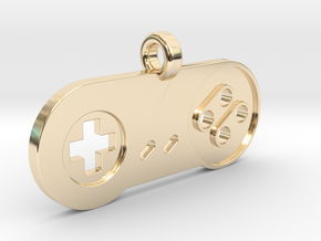 SNES Controller Styled Pendant in 14K Yellow Gold