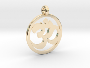 Ohm Pendant in 14k Gold Plated Brass