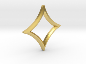 Square Star Pendant in Polished Brass