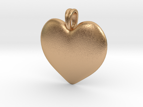 14K Gold Heart Necklace  in Natural Bronze