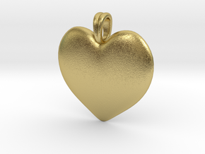 14K Gold Heart Necklace  in Natural Brass