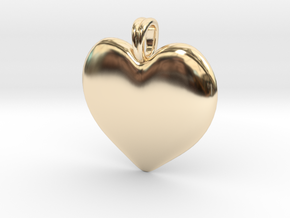 14K Gold Heart Necklace  in 14k Gold Plated Brass
