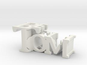 3dWordFlip: Tom/Beth in White Natural Versatile Plastic