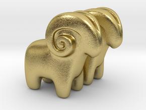 Ram Earrings in Natural Brass