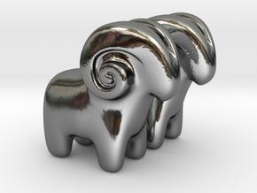 Ram Earrings in Fine Detail Polished Silver