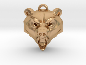 Bear Medallion (hollow version) large in Natural Bronze: Large