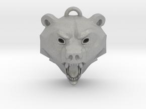 Bear Medallion (solid version) large in Aluminum: Medium