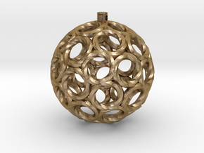Swirlo Xmas Ball in Polished Gold Steel