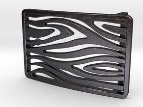 Woodgrain Belt Buckle in Polished and Bronzed Black Steel