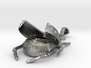 Lotus Scarab - Pendant - Vessels in Natural Silver (Interlocking Parts)