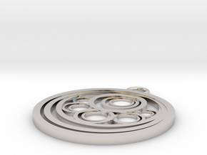 Geometrical pendant no.10 in Rhodium Plated Brass: Small
