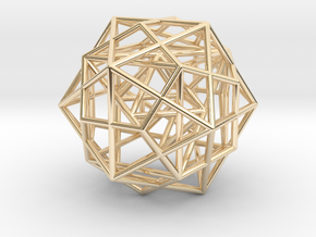 Nested Platonic Solids -Round Wires in 14k Gold Plated Brass
