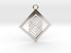 Geometrical pendant no.14 in Rhodium Plated Brass: Large