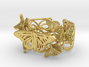 Butterflies in Love_ Bracelet_ S in Polished Brass