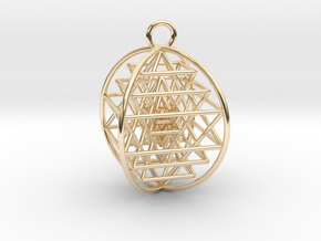 "3D Sri Yantra 4 Sided Symmetrical 1"" Pendant in 14K Yellow Gold"
