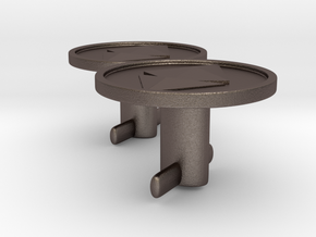Ethereum Cufflinks in Polished Bronzed Silver Steel