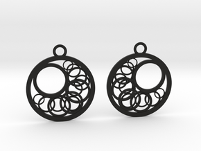 Geometrical earrings no.16 in Black Natural Versatile Plastic: Small