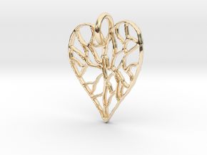 Cracked Heart Pendant in 14k Gold Plated Brass