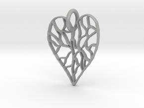 Cracked Heart Pendant in Aluminum