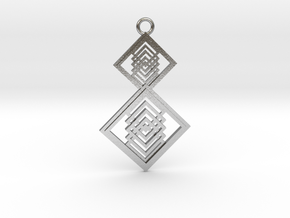 Geometrical pendant no.15 in Natural Silver