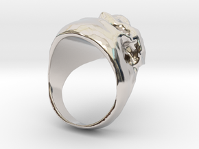 Skull Big Ring in Rhodium Plated Brass: 7.5 / 55.5