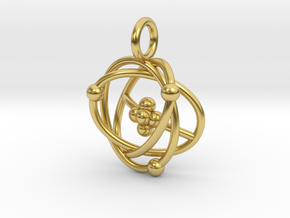 Atomic Model Pendant - Science Jewelry in Polished Brass