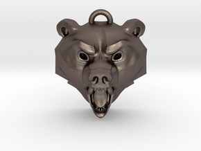 Bear Medallion (hollow version) small in Polished Bronzed-Silver Steel: Small