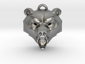 Bear Medallion (hollow version) small in Natural Silver: Small