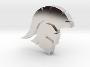 Spartan Head Charm in Rhodium Plated Brass