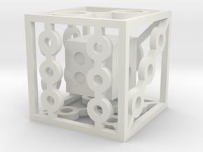 Dice in Dice D6 in White Natural Versatile Plastic