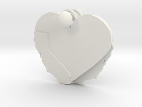 California Heart Earrings in White Natural Versatile Plastic