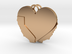 California Heart Earrings in Polished Bronze