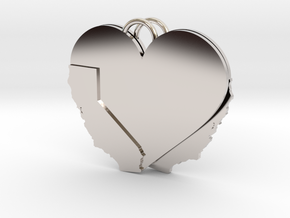 California Heart Earrings in Rhodium Plated Brass
