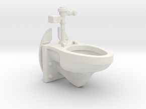 1:18 Scale Toilet - Articulated Wall Mounted with  in White Natural Versatile Plastic