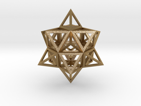 """Wireframe Stellated Vector Equilibrium 3""""  in Polished Gold Steel"""