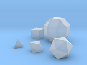 Basic geometric shapes D4 D6 D8 D20 and D26 in Smooth Fine Detail Plastic