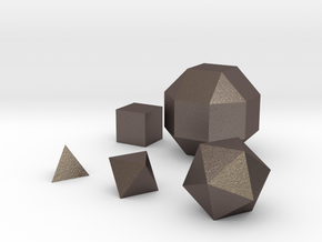 Basic geometric shapes D4 D6 D8 D20 and D26 in Polished Bronzed-Silver Steel