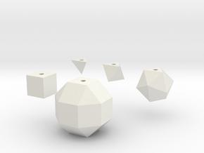 Basic geometric shapes D4 D6 D8 D20 D26 (hollow) in White Natural Versatile Plastic