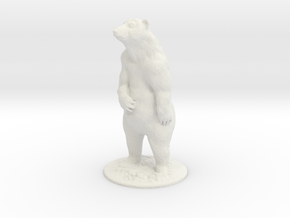4 inch Grizzly Bear in White Natural Versatile Plastic