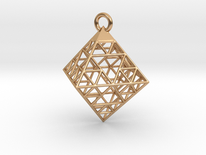 Wire Sierpinski Octahedron Pendant in Polished Bronze