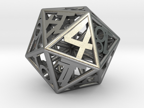 D20 Balanced - Numbers Only (Small) in Natural Silver