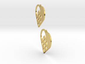 Swedish Heart Earrings in Polished Brass