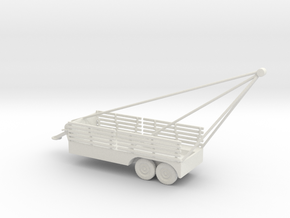 1/100 Scale 6x6 Jeep Cargo Trailer with Crane Exte in White Natural Versatile Plastic