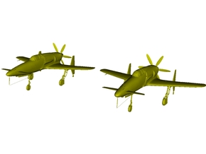 1/220 scale Kyushu J7W1 Shinden WWII fighters x 2 in Smooth Fine Detail Plastic
