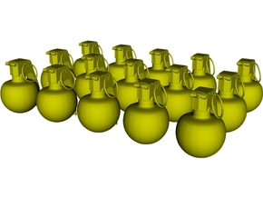 1/18 scale M-67 fragmentation grenades x 15 in Smooth Fine Detail Plastic