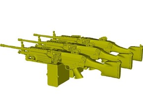 1/18 scale FN Fabrique Nationale M-249 Minimi x 3 in Smooth Fine Detail Plastic
