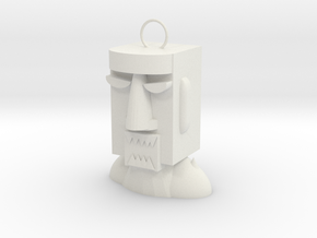 Easter Island Stone Statue (Anger)  in White Natural Versatile Plastic