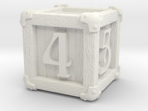 High Detailed Wood Dice with Numbers in White Natural Versatile Plastic: Large