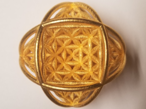 """Ball Of Life v2 Sphere 2.5""""  in Polished Gold Steel"""